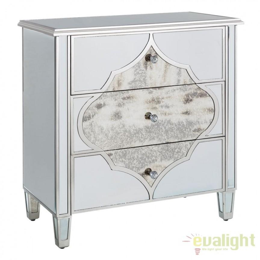 Comoda eleganta placata cu oglinda Glam SX-106290, Corpuri de iluminat, lustre, aplice, veioze, lampadare, plafoniere. Mobilier si decoratiuni, oglinzi, scaune, fotolii. Oferte speciale iluminat interior si exterior. Livram in toata tara.