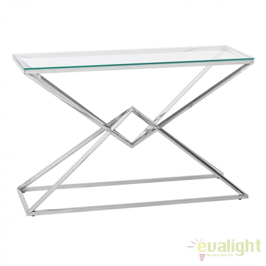 Consola design elegant din otel inoxidabil si sticla, PLATA SX-105624, Console - Birouri, Corpuri de iluminat, lustre, aplice, veioze, lampadare, plafoniere. Mobilier si decoratiuni, oglinzi, scaune, fotolii. Oferte speciale iluminat interior si exterior. Livram in toata tara.  a