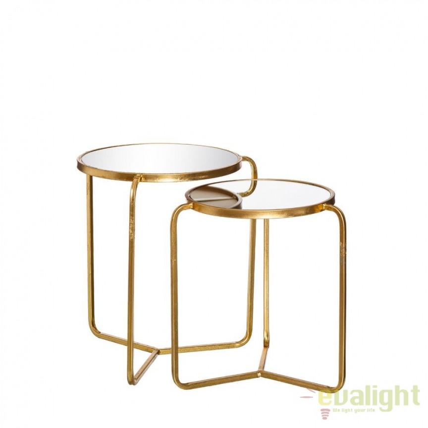Set de 2 masute Antonetta metal/ oglinda SX-102225, Masute de cafea, Corpuri de iluminat, lustre, aplice, veioze, lampadare, plafoniere. Mobilier si decoratiuni, oglinzi, scaune, fotolii. Oferte speciale iluminat interior si exterior. Livram in toata tara.  a