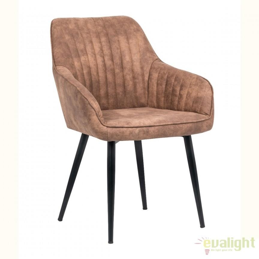 Set de 2 scaune elegante, cu brate si tapiterie din microfibra, Turin maro deschis vintage A-38789 VC, Seturi scaune dining, scaune HoReCa, Corpuri de iluminat, lustre, aplice, veioze, lampadare, plafoniere. Mobilier si decoratiuni, oglinzi, scaune, fotolii. Oferte speciale iluminat interior si exterior. Livram in toata tara.  a