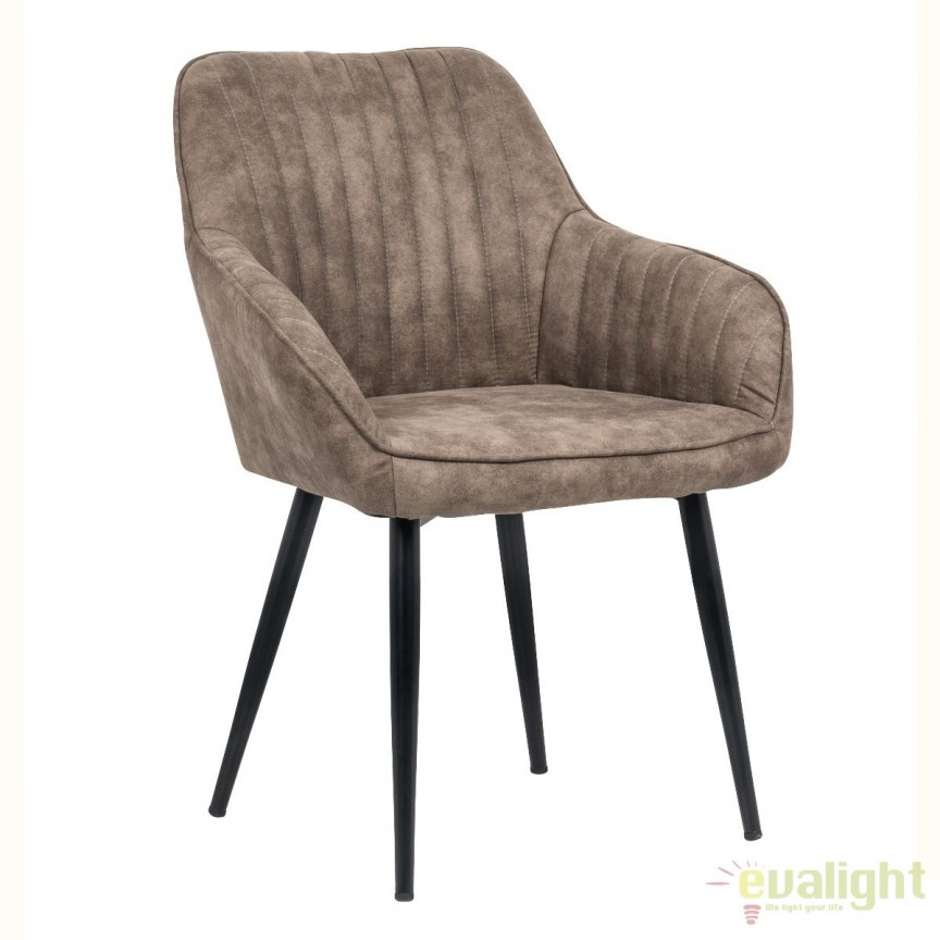 Set de 2 scaune elegante, cu brate si tapiterie din microfibra, Turin taupe A-38790 VC, Seturi scaune dining, scaune HoReCa, Corpuri de iluminat, lustre, aplice, veioze, lampadare, plafoniere. Mobilier si decoratiuni, oglinzi, scaune, fotolii. Oferte speciale iluminat interior si exterior. Livram in toata tara.  a
