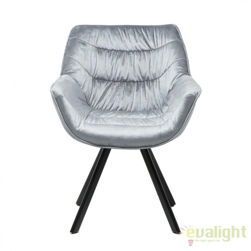 Set de 2 scaune cu design ergonomic ideale pentru sufragerii, sali de conferinta sau birouri, Dutch Comfort catifea gri A-38595 VC, Seturi scaune dining, scaune HoReCa, Corpuri de iluminat, lustre, aplice, veioze, lampadare, plafoniere. Mobilier si decoratiuni, oglinzi, scaune, fotolii. Oferte speciale iluminat interior si exterior. Livram in toata tara.  a