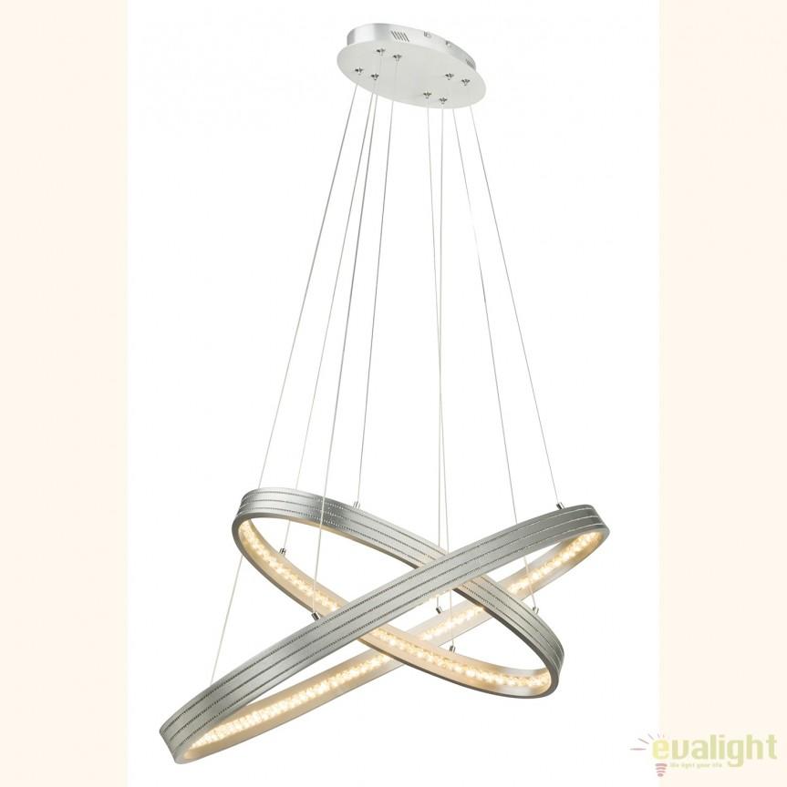 Lustra LED cu doua inele ovale reglabile si cristal K5, RICKON 67094-28H GL, ILUMINAT INTERIOR LED , Corpuri de iluminat, lustre, aplice, veioze, lampadare, plafoniere. Mobilier si decoratiuni, oglinzi, scaune, fotolii. Oferte speciale iluminat interior si exterior. Livram in toata tara.  a