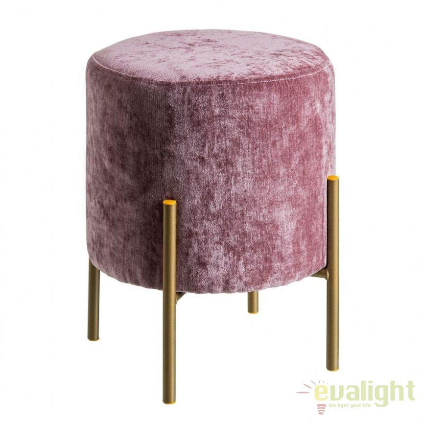 Taburete elegant Tomson, catifea roz SX-105635, Tabureti - Banci, Corpuri de iluminat, lustre, aplice, veioze, lampadare, plafoniere. Mobilier si decoratiuni, oglinzi, scaune, fotolii. Oferte speciale iluminat interior si exterior. Livram in toata tara.  a