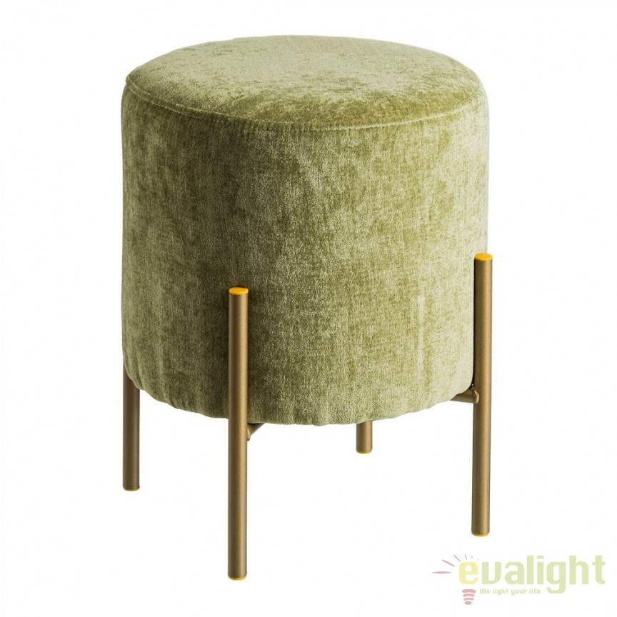 Taburete elegant Tomson, catifea verde SX-105637, Corpuri de iluminat, lustre, aplice, veioze, lampadare, plafoniere. Mobilier si decoratiuni, oglinzi, scaune, fotolii. Oferte speciale iluminat interior si exterior. Livram in toata tara.