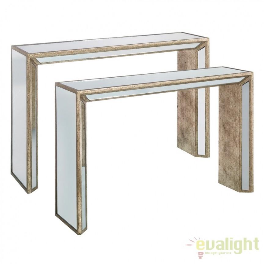 Set de 2 console design LUX placate cu oglinda, Tiffany DZ-106503, Console - Birouri, Corpuri de iluminat, lustre, aplice, veioze, lampadare, plafoniere. Mobilier si decoratiuni, oglinzi, scaune, fotolii. Oferte speciale iluminat interior si exterior. Livram in toata tara.  a