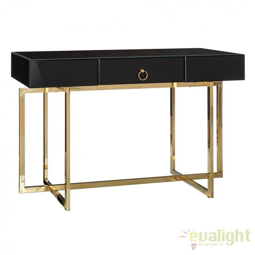 Consola eleganta cu sticla neagra si picioare metalice aurii, Black DZ-105525, Console - Birouri, Corpuri de iluminat, lustre, aplice, veioze, lampadare, plafoniere. Mobilier si decoratiuni, oglinzi, scaune, fotolii. Oferte speciale iluminat interior si exterior. Livram in toata tara.  a
