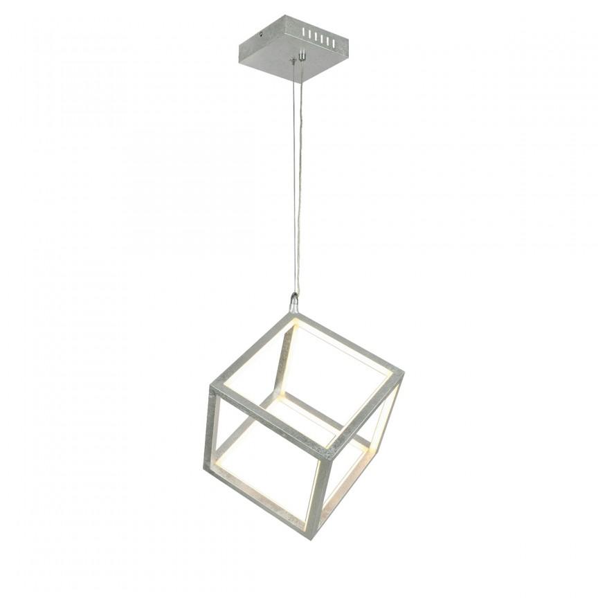 Lustra LED design modern SELMY argintie 15605S GL, Pendule, Lustre suspendate, Corpuri de iluminat, lustre, aplice, veioze, lampadare, plafoniere. Mobilier si decoratiuni, oglinzi, scaune, fotolii. Oferte speciale iluminat interior si exterior. Livram in toata tara.  a