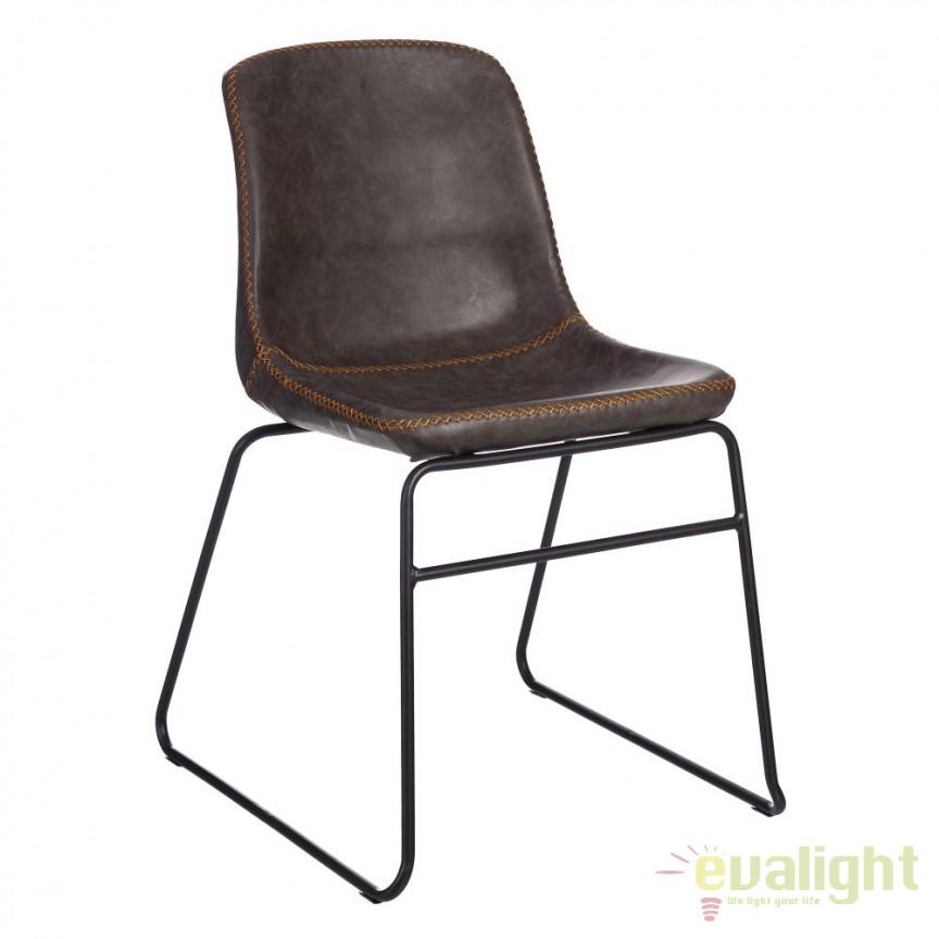 Set de 2 scaune design industrial Kiley, piele sintetica gri SX-105355, Seturi scaune dining, scaune HoReCa, Corpuri de iluminat, lustre, aplice, veioze, lampadare, plafoniere. Mobilier si decoratiuni, oglinzi, scaune, fotolii. Oferte speciale iluminat interior si exterior. Livram in toata tara.  a