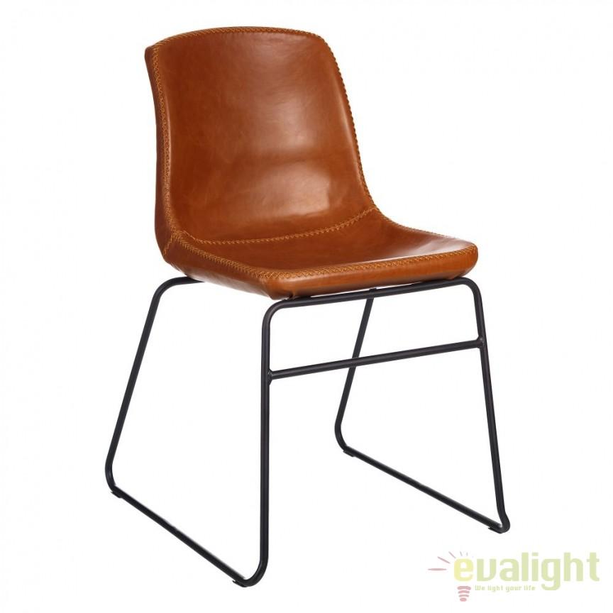 Set de 2 scaune design industrial Kiley, piele sintetica maro-camel SX-105353, Seturi scaune dining, scaune HoReCa, Corpuri de iluminat, lustre, aplice, veioze, lampadare, plafoniere. Mobilier si decoratiuni, oglinzi, scaune, fotolii. Oferte speciale iluminat interior si exterior. Livram in toata tara.  a