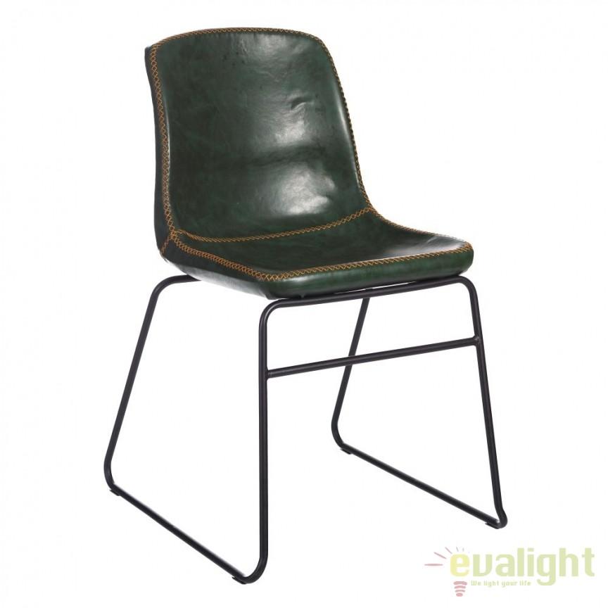 Set de 2 scaune design industrial Kiley, piele sintetica verde inchis SX-105354, Seturi scaune dining, scaune HoReCa, Corpuri de iluminat, lustre, aplice, veioze, lampadare, plafoniere. Mobilier si decoratiuni, oglinzi, scaune, fotolii. Oferte speciale iluminat interior si exterior. Livram in toata tara.  a