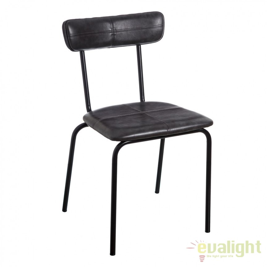 Set de 2 scaune design industrial Sara, piele sintetica neagra SX-105325, Seturi scaune dining, scaune HoReCa, Corpuri de iluminat, lustre, aplice, veioze, lampadare, plafoniere. Mobilier si decoratiuni, oglinzi, scaune, fotolii. Oferte speciale iluminat interior si exterior. Livram in toata tara.  a