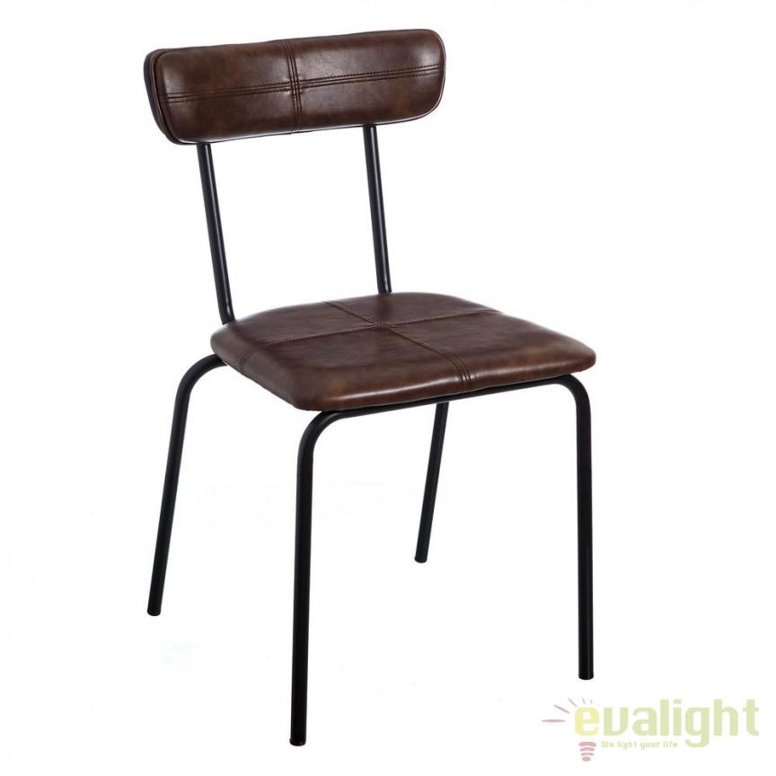 Set de 2 scaune design industrial Sara, piele sintetica maro SX-105326, Seturi scaune dining, scaune HoReCa, Corpuri de iluminat, lustre, aplice, veioze, lampadare, plafoniere. Mobilier si decoratiuni, oglinzi, scaune, fotolii. Oferte speciale iluminat interior si exterior. Livram in toata tara.  a