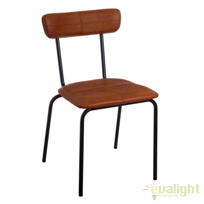 Set de 2 scaune design industrial Sara, piele sintetica maro-camel SX-105327, Seturi scaune dining, scaune HoReCa, Corpuri de iluminat, lustre, aplice, veioze, lampadare, plafoniere. Mobilier si decoratiuni, oglinzi, scaune, fotolii. Oferte speciale iluminat interior si exterior. Livram in toata tara.  a