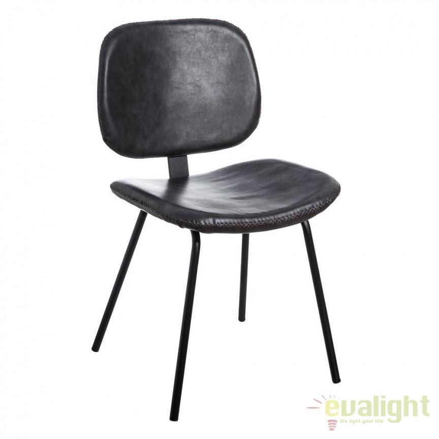 Set de 2 scaune design industrial Rena, piele sintetica neagra SX-105331, Seturi scaune dining, scaune HoReCa, Corpuri de iluminat, lustre, aplice, veioze, lampadare, plafoniere. Mobilier si decoratiuni, oglinzi, scaune, fotolii. Oferte speciale iluminat interior si exterior. Livram in toata tara.  a