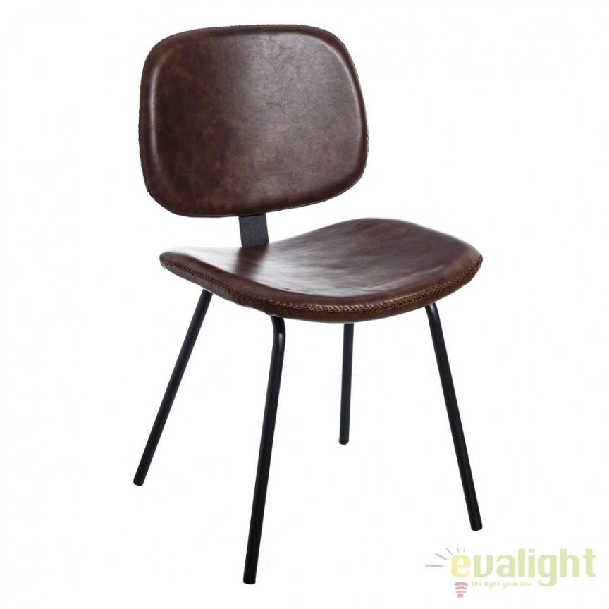 Set de 2 scaune design industrial Rena, piele sintetica maro SX-105332, Seturi scaune dining, scaune HoReCa, Corpuri de iluminat, lustre, aplice, veioze, lampadare, plafoniere. Mobilier si decoratiuni, oglinzi, scaune, fotolii. Oferte speciale iluminat interior si exterior. Livram in toata tara.  a