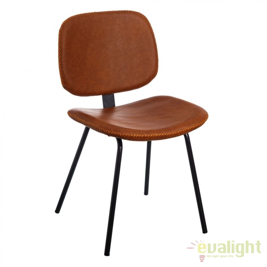 Set de 2 scaune design industrial Rena, piele sintetica maro-camel SX-105333, Seturi scaune dining, scaune HoReCa, Corpuri de iluminat, lustre, aplice, veioze, lampadare, plafoniere. Mobilier si decoratiuni, oglinzi, scaune, fotolii. Oferte speciale iluminat interior si exterior. Livram in toata tara.  a