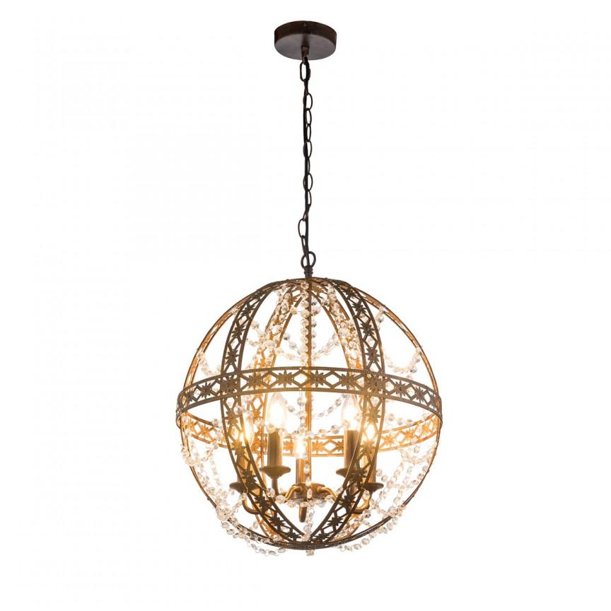 Candelabru stil clasic sferic Sharin Ø46cm 15816-5 GL, Candelabre, Pendule clasice, Corpuri de iluminat, lustre, aplice, veioze, lampadare, plafoniere. Mobilier si decoratiuni, oglinzi, scaune, fotolii. Oferte speciale iluminat interior si exterior. Livram in toata tara.  a