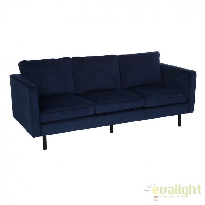 Canapea fixa 3 locuri design elegant Lory, albastru SX-105937, Canapele - Coltare, Corpuri de iluminat, lustre, aplice, veioze, lampadare, plafoniere. Mobilier si decoratiuni, oglinzi, scaune, fotolii. Oferte speciale iluminat interior si exterior. Livram in toata tara.  a