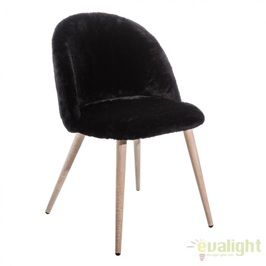Set de 2 scaune tapitate cu blana sintetica, NÓRDICO negru SX-105385, Seturi scaune dining, scaune HoReCa, Corpuri de iluminat, lustre, aplice, veioze, lampadare, plafoniere. Mobilier si decoratiuni, oglinzi, scaune, fotolii. Oferte speciale iluminat interior si exterior. Livram in toata tara.  a