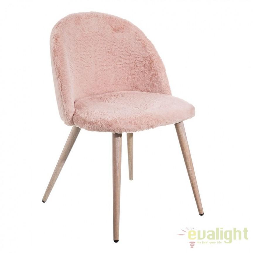 Set de 2 scaune tapitate cu blana sintetica, NÓRDICO roz SX-105386, Seturi scaune dining, scaune HoReCa, Corpuri de iluminat, lustre, aplice, veioze, lampadare, plafoniere. Mobilier si decoratiuni, oglinzi, scaune, fotolii. Oferte speciale iluminat interior si exterior. Livram in toata tara.  a
