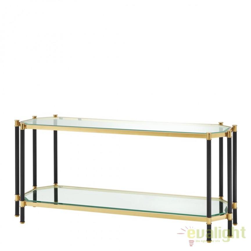 Consola design elegant LUX Florence negru/ auriu 112336 HZ, Console - Birouri, Corpuri de iluminat, lustre, aplice, veioze, lampadare, plafoniere. Mobilier si decoratiuni, oglinzi, scaune, fotolii. Oferte speciale iluminat interior si exterior. Livram in toata tara.  a
