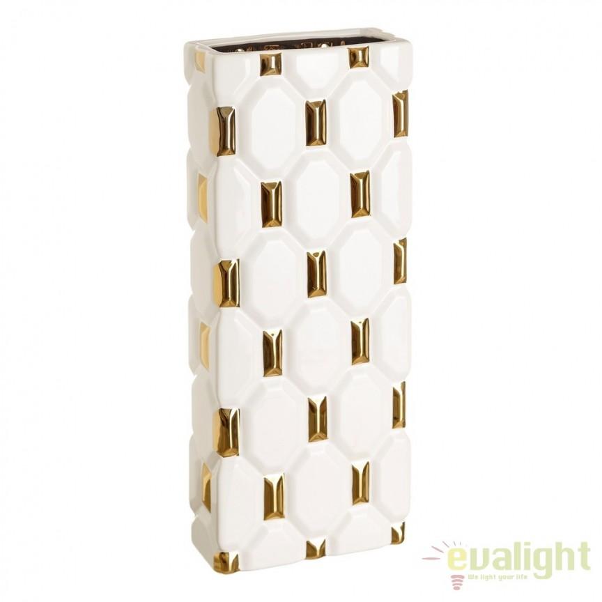 Vaza din ceramica alba cu auriu Mona, 50,5cm DZ-106968, Vaze, Ghivece decorative, Corpuri de iluminat, lustre, aplice, veioze, lampadare, plafoniere. Mobilier si decoratiuni, oglinzi, scaune, fotolii. Oferte speciale iluminat interior si exterior. Livram in toata tara.  a