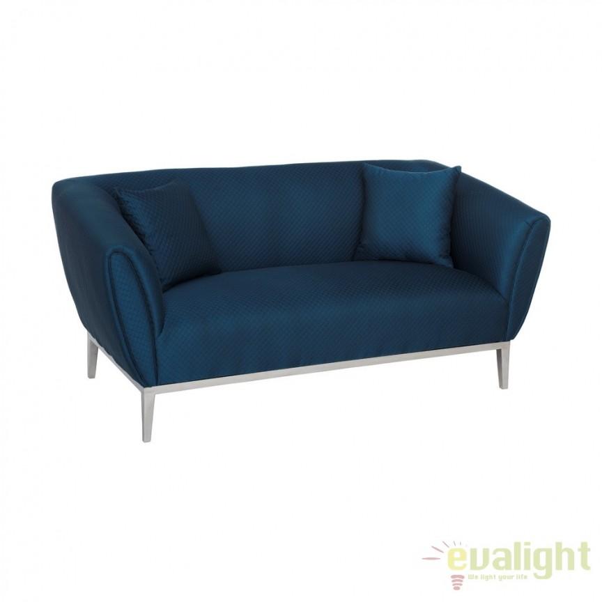 Canapea fixa 2 locuri design elegant Blue DZ-105499, Canapele - Coltare, Corpuri de iluminat, lustre, aplice, veioze, lampadare, plafoniere. Mobilier si decoratiuni, oglinzi, scaune, fotolii. Oferte speciale iluminat interior si exterior. Livram in toata tara.  a