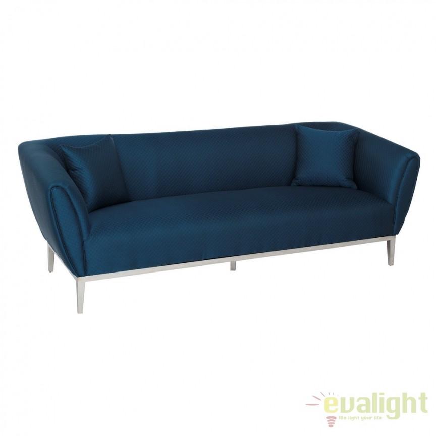 Canapea fixa 3 locuri design elegant Blue DZ-105500, Canapele - Coltare, Corpuri de iluminat, lustre, aplice, veioze, lampadare, plafoniere. Mobilier si decoratiuni, oglinzi, scaune, fotolii. Oferte speciale iluminat interior si exterior. Livram in toata tara.  a