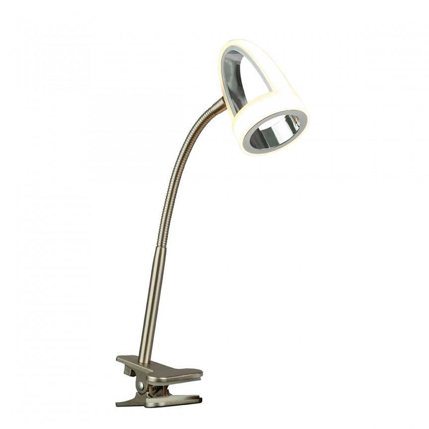 Lampa LED birou / Veioza cu clips moderna RODRIK 56006-1K GL, CORPURI DE ILUMINAT INTERIOR MODERN, Corpuri de iluminat, lustre, aplice, veioze, lampadare, plafoniere. Mobilier si decoratiuni, oglinzi, scaune, fotolii. Oferte speciale iluminat interior si exterior. Livram in toata tara.  a