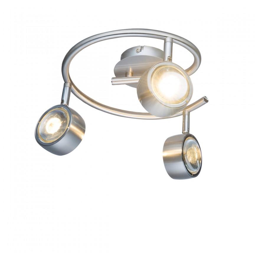 Plafoniera LED moderna cu spoturi directionabile Barra 3L 56290-3 GL, Spoturi - iluminat - cu 3 spoturi, Corpuri de iluminat, lustre, aplice, veioze, lampadare, plafoniere. Mobilier si decoratiuni, oglinzi, scaune, fotolii. Oferte speciale iluminat interior si exterior. Livram in toata tara.  a