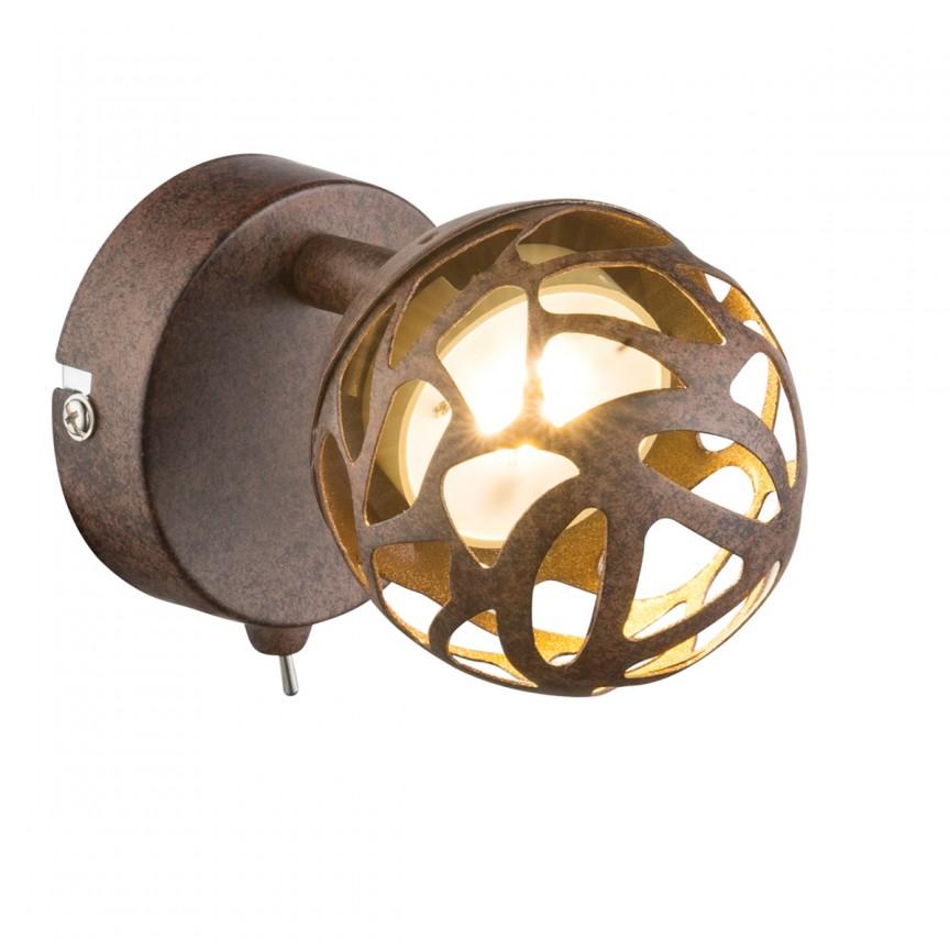 Aplica perete LED metal rustic Ohio 56802-1 GL, Spoturi - iluminat - cu 1 spot, Corpuri de iluminat, lustre, aplice, veioze, lampadare, plafoniere. Mobilier si decoratiuni, oglinzi, scaune, fotolii. Oferte speciale iluminat interior si exterior. Livram in toata tara.  a