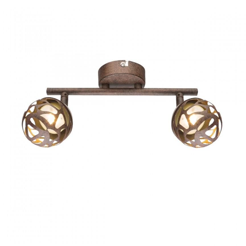 Aplica LED perete / tavan metal rustic Ohio 2L 56802-2 GL, Spoturi - iluminat - cu 2 spoturi, Corpuri de iluminat, lustre, aplice, veioze, lampadare, plafoniere. Mobilier si decoratiuni, oglinzi, scaune, fotolii. Oferte speciale iluminat interior si exterior. Livram in toata tara.  a