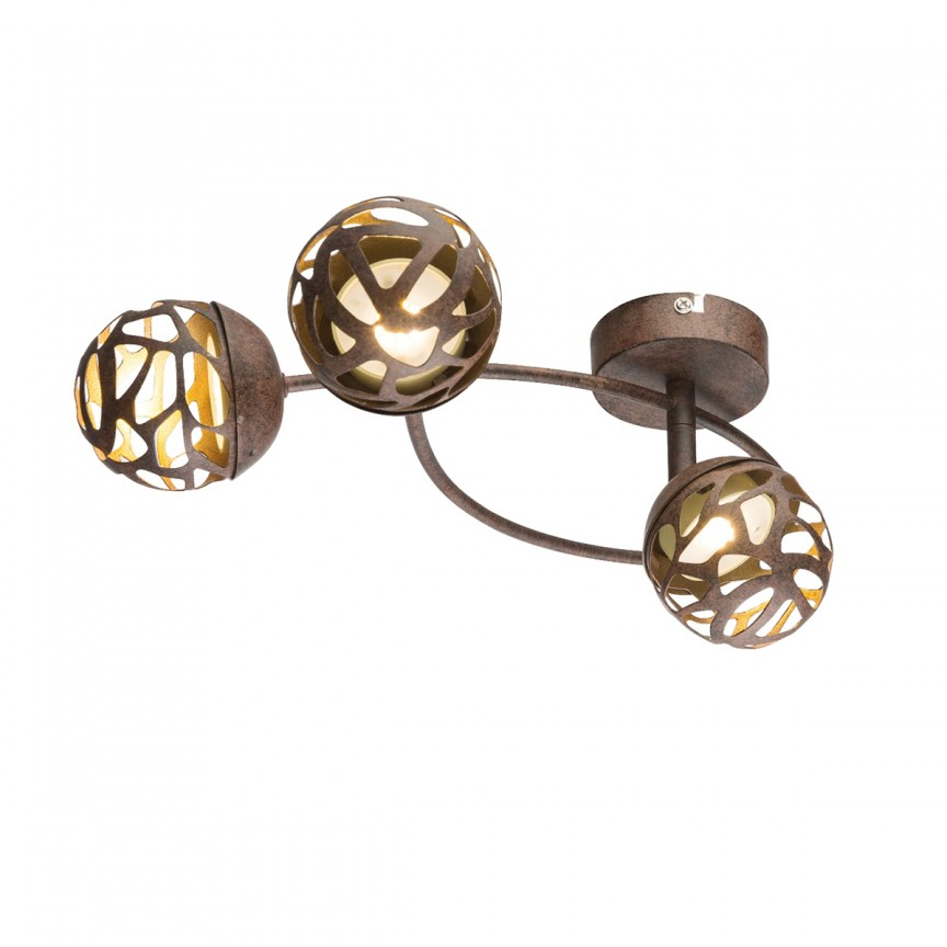 Plafoniera LED metal rustic Ohio 3L 56802-3 GL, Spoturi - iluminat - cu 3 spoturi, Corpuri de iluminat, lustre, aplice, veioze, lampadare, plafoniere. Mobilier si decoratiuni, oglinzi, scaune, fotolii. Oferte speciale iluminat interior si exterior. Livram in toata tara.  a
