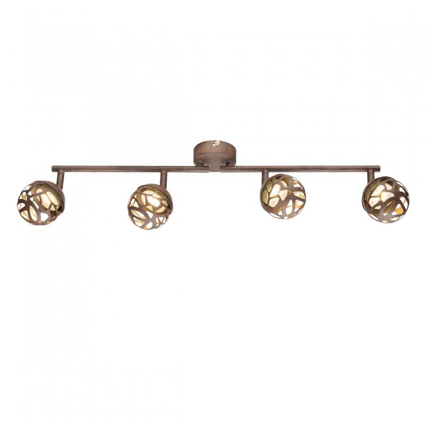 Lustra LED aplicata metal rustic Ohio 4L 56802-4 GL, Spoturi - iluminat - cu 4 spoturi, Corpuri de iluminat, lustre, aplice, veioze, lampadare, plafoniere. Mobilier si decoratiuni, oglinzi, scaune, fotolii. Oferte speciale iluminat interior si exterior. Livram in toata tara.  a
