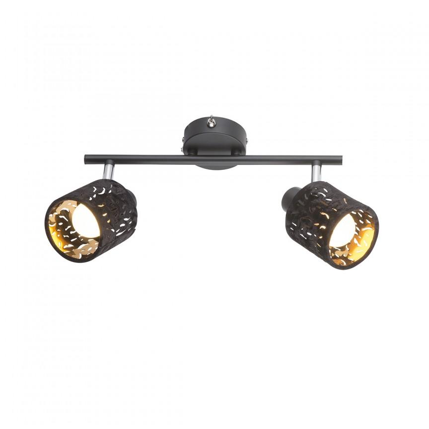 Aplica perete catifea design elegant TROY 2L 54121-2 GL, Spoturi - iluminat - cu 2 spoturi, Corpuri de iluminat, lustre, aplice, veioze, lampadare, plafoniere. Mobilier si decoratiuni, oglinzi, scaune, fotolii. Oferte speciale iluminat interior si exterior. Livram in toata tara.  a