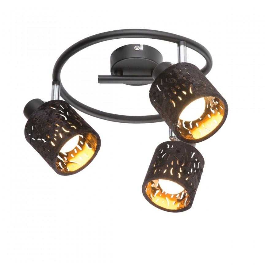 Plafoniera catifea design elegant TROY 3L 54121-3 GL, Spoturi - iluminat - cu 3 spoturi, Corpuri de iluminat, lustre, aplice, veioze, lampadare, plafoniere. Mobilier si decoratiuni, oglinzi, scaune, fotolii. Oferte speciale iluminat interior si exterior. Livram in toata tara.  a