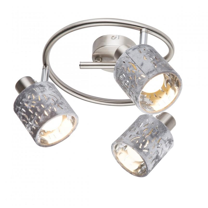 Plafoniera catifea design elegant ALYS 3L 54122-3 GL, Spoturi - iluminat - cu 3 spoturi, Corpuri de iluminat, lustre, aplice, veioze, lampadare, plafoniere. Mobilier si decoratiuni, oglinzi, scaune, fotolii. Oferte speciale iluminat interior si exterior. Livram in toata tara.  a