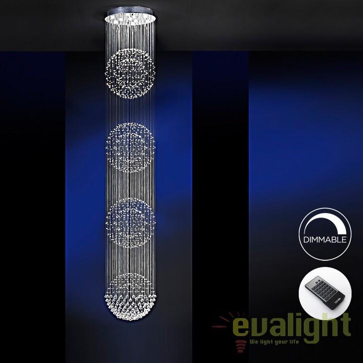 Lustra LED casa scarii cu telecomanda design super-modern Estratos Ø60cm / H 4 metri SV-690197D, ILUMINAT INTERIOR LED , Corpuri de iluminat, lustre, aplice, veioze, lampadare, plafoniere. Mobilier si decoratiuni, oglinzi, scaune, fotolii. Oferte speciale iluminat interior si exterior. Livram in toata tara.  a