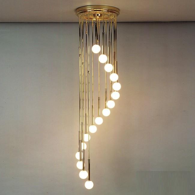 Lustra casa scarii cu 16 surse de lumina Spiralluster, auriu, Lustre casa scarii, Corpuri de iluminat, lustre, aplice, veioze, lampadare, plafoniere. Mobilier si decoratiuni, oglinzi, scaune, fotolii. Oferte speciale iluminat interior si exterior. Livram in toata tara.  a