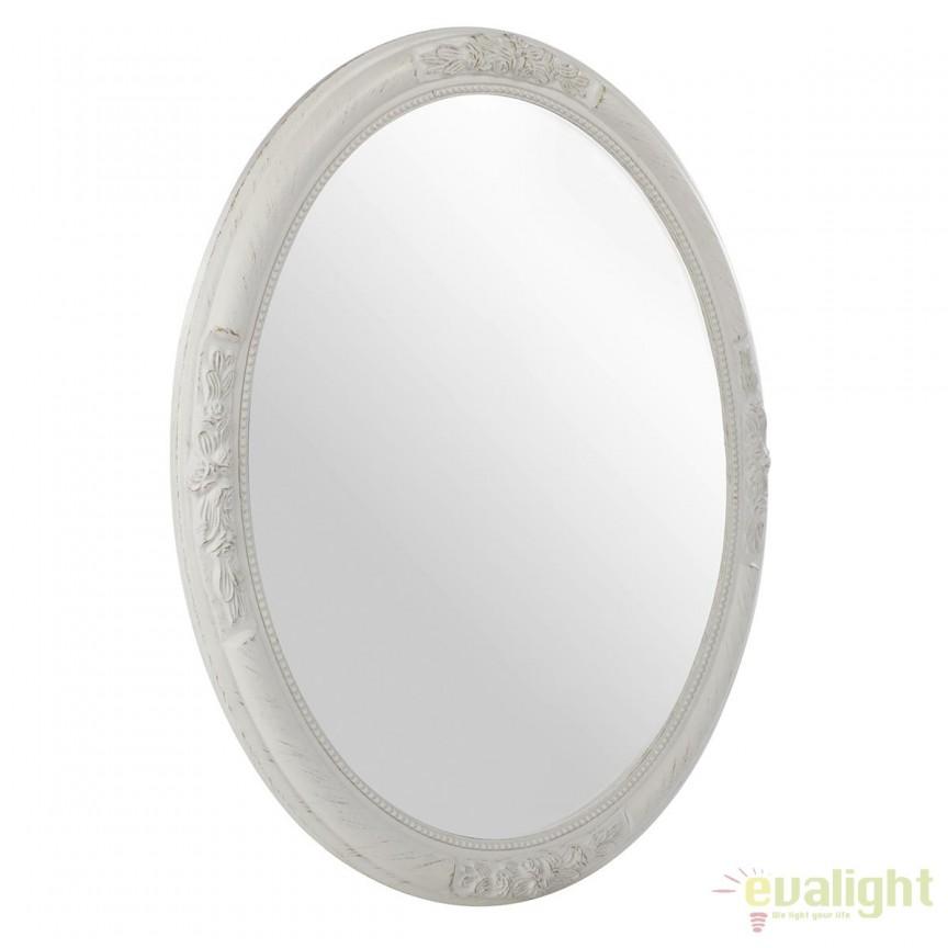 Oglinda decorativa ovala OV WHITE, 67x57cm 0242040 BZ, PROMOTII, Corpuri de iluminat, lustre, aplice, veioze, lampadare, plafoniere. Mobilier si decoratiuni, oglinzi, scaune, fotolii. Oferte speciale iluminat interior si exterior. Livram in toata tara.  a