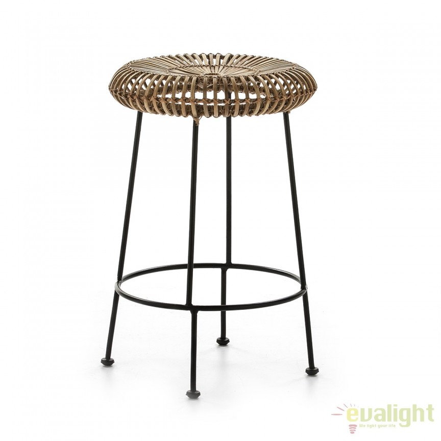 Scaun de bar Rolland realizat din rachita impletita si metal 29929/00 TN, Mobila si Decoratiuni,  a