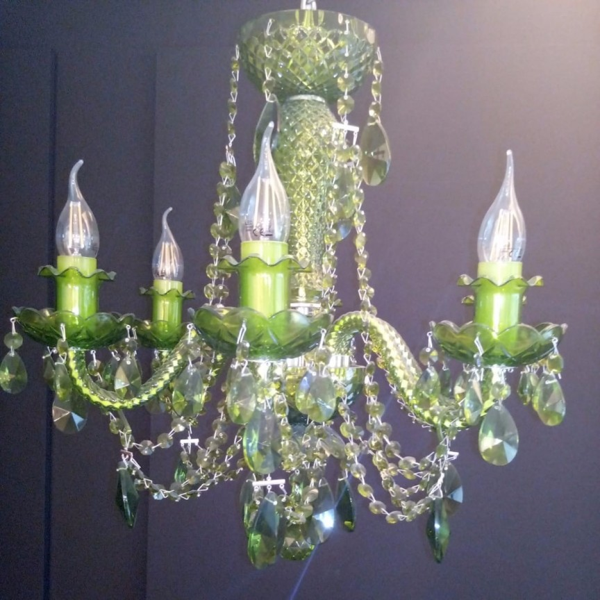 Lustra 6 brate cristal Bohemia realizata manual, nickel/ olivine L11 009/06/1-A Ni, lip, olivine, LUSTRE CRISTAL, Corpuri de iluminat, lustre, aplice, veioze, lampadare, plafoniere. Mobilier si decoratiuni, oglinzi, scaune, fotolii. Oferte speciale iluminat interior si exterior. Livram in toata tara.  a