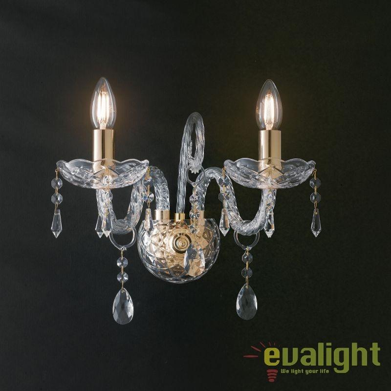 Aplica design clasic MONALISA transparent/ auriu I-MONALISA/AP2 FE, Aplice de perete clasice, Corpuri de iluminat, lustre, aplice, veioze, lampadare, plafoniere. Mobilier si decoratiuni, oglinzi, scaune, fotolii. Oferte speciale iluminat interior si exterior. Livram in toata tara.  a