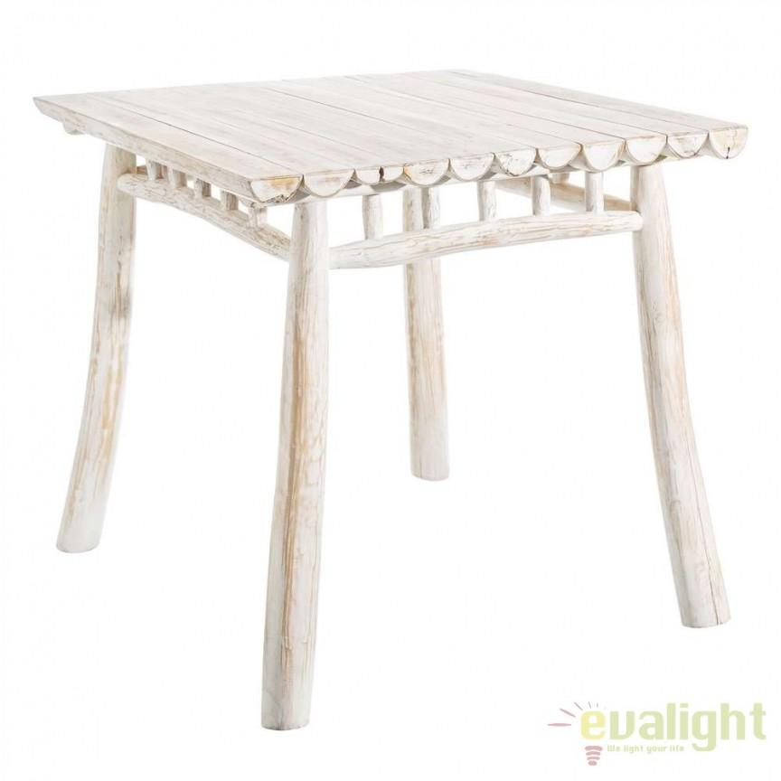 Masa din lemn design rustic BLANCO DECAPÉ, 80x80cm SX-106891, Magazin, Corpuri de iluminat, lustre, aplice, veioze, lampadare, plafoniere. Mobilier si decoratiuni, oglinzi, scaune, fotolii. Oferte speciale iluminat interior si exterior. Livram in toata tara.  a