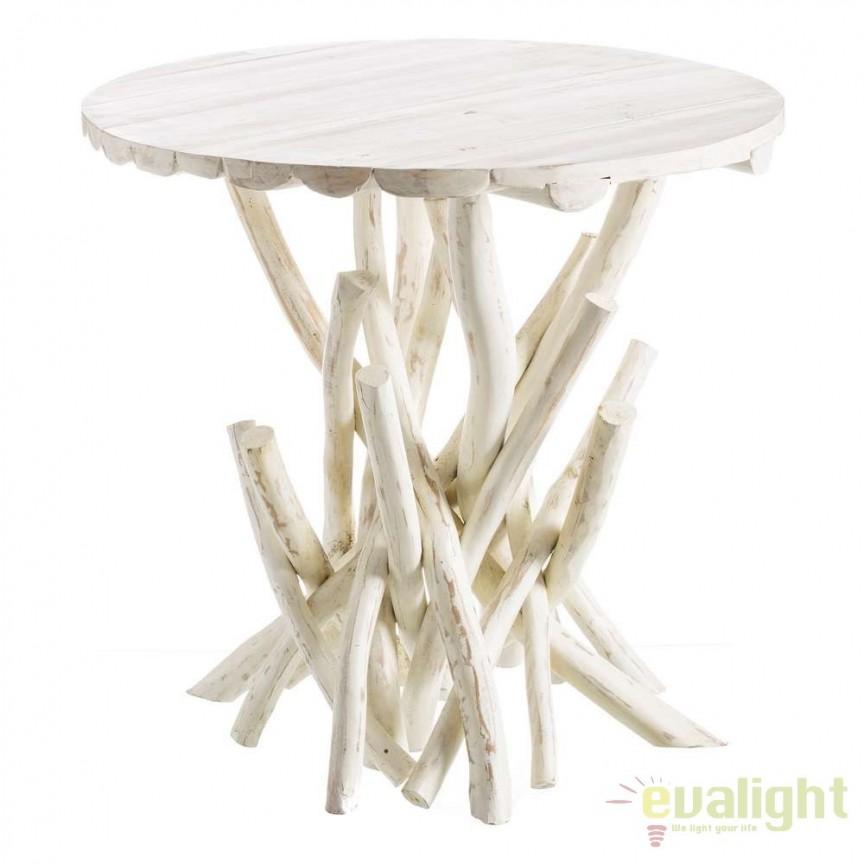 Masa din lemn design rustic BLANCO DECAPÉ, 80cm SX-106893, Magazin, Corpuri de iluminat, lustre, aplice, veioze, lampadare, plafoniere. Mobilier si decoratiuni, oglinzi, scaune, fotolii. Oferte speciale iluminat interior si exterior. Livram in toata tara.  a
