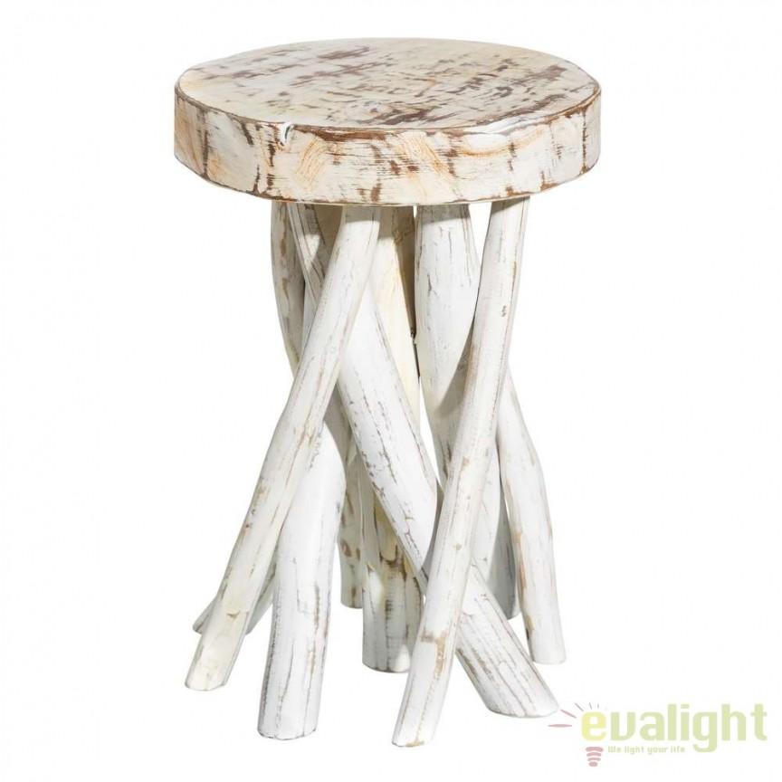 Set de 2 tabureti din lemn design rustic BLANCO DECAPÉ SX-106892, Magazin, Corpuri de iluminat, lustre, aplice, veioze, lampadare, plafoniere. Mobilier si decoratiuni, oglinzi, scaune, fotolii. Oferte speciale iluminat interior si exterior. Livram in toata tara.  a