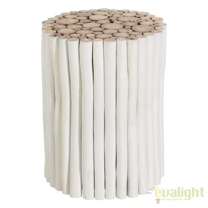 Taburete din lemn design rustic BLANCO DECAPÉ SX-107658, Magazin, Corpuri de iluminat, lustre, aplice, veioze, lampadare, plafoniere. Mobilier si decoratiuni, oglinzi, scaune, fotolii. Oferte speciale iluminat interior si exterior. Livram in toata tara.  a