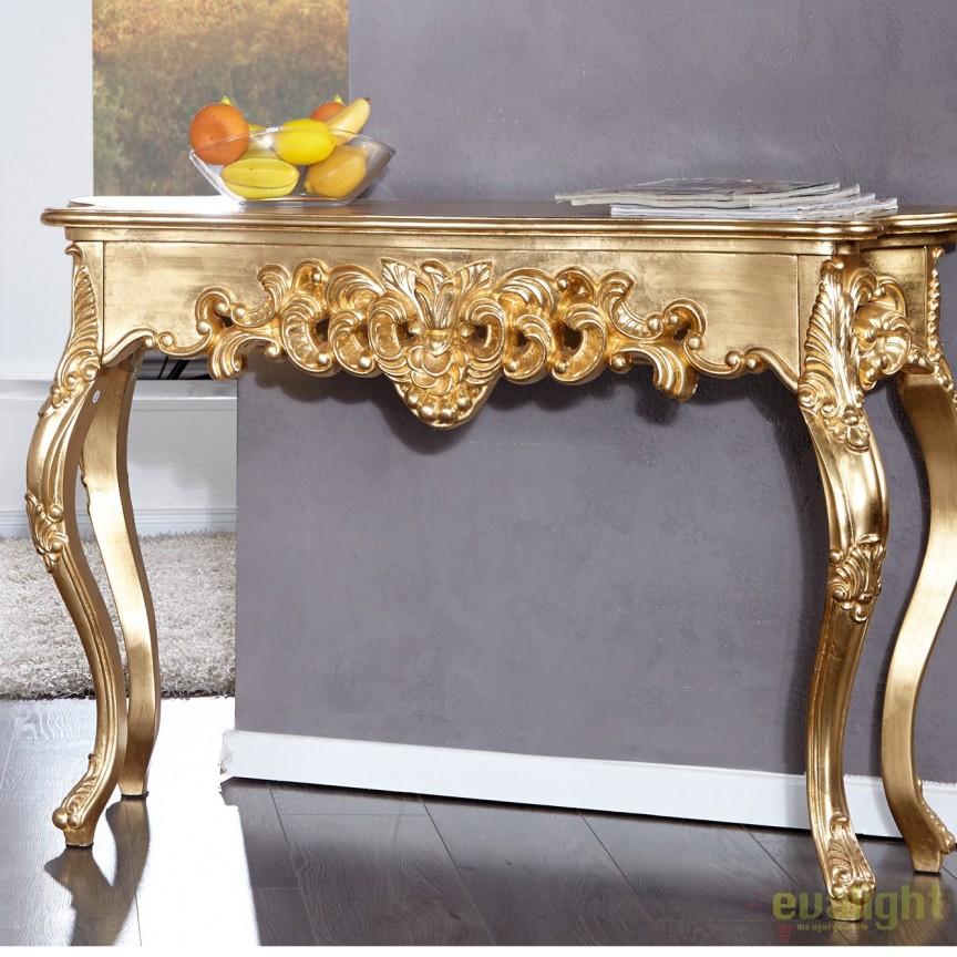 Consola eleganta Venice 110cm, auriu A-15633 VC, Console - Birouri, Corpuri de iluminat, lustre, aplice, veioze, lampadare, plafoniere. Mobilier si decoratiuni, oglinzi, scaune, fotolii. Oferte speciale iluminat interior si exterior. Livram in toata tara.  a