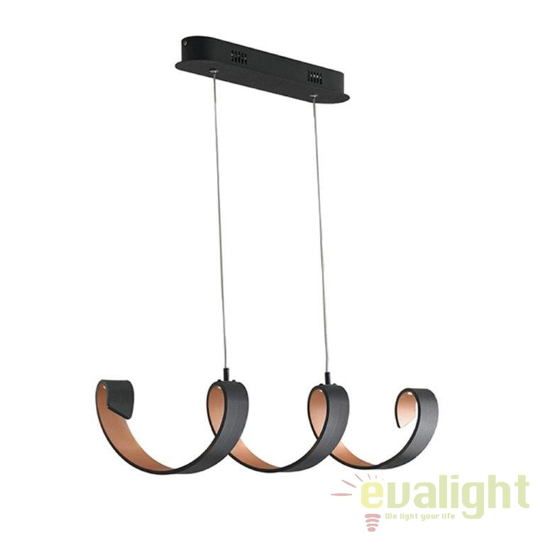 Lustra design modern HELIX negru/ auriu LED-HELIX-S4 NER FE, Lustre LED, Pendule LED, Corpuri de iluminat, lustre, aplice, veioze, lampadare, plafoniere. Mobilier si decoratiuni, oglinzi, scaune, fotolii. Oferte speciale iluminat interior si exterior. Livram in toata tara.  a